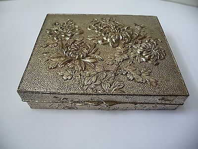 Antique Japanese Antimony Cigarette Box, Wooden Lined, Signed, Chrysanthemum.