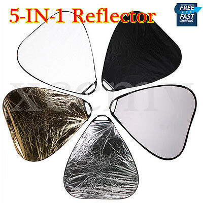 """Photo Studio 110cm 43"""" Light 5 in1 Collapsible Triangle Reflector Panel Bag UK"""