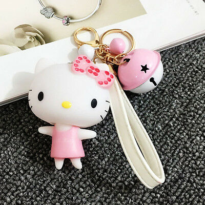 Hello Kitty Keychain with Bell Rotatable Head Cute Key Ring for Girl's Gift