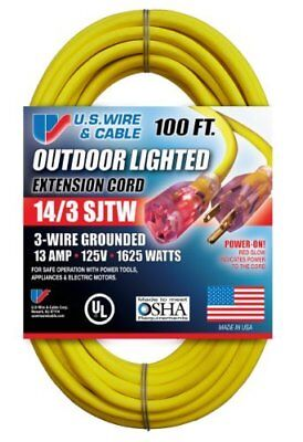 US Wire and Cable 143 100-Feet SJTW Yellow Lighted Extension Cord