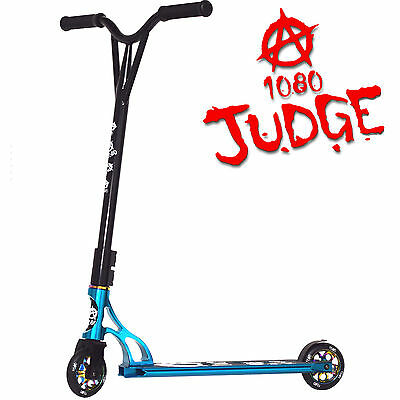 1080 Judge Stunt Scooter Custom Alloy Ten Eighty Anodised Scooter - Turquoise