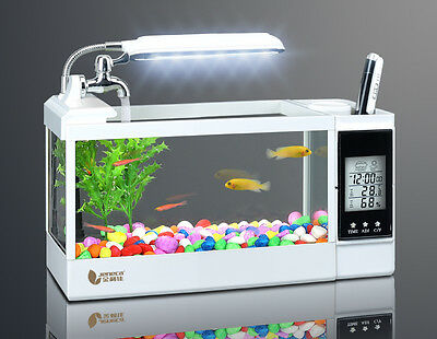 Desktop Aquarium Fish Tank With Electronic Calendar Time LED Lights Pen holder