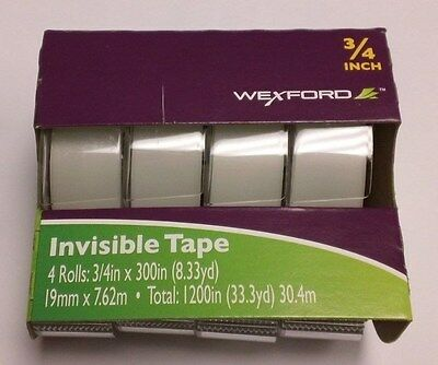 """4 Pack -Wexford Invisible Tape 19mm 3/4"""" x 1200"""" BEST DEAL (NEW)"""