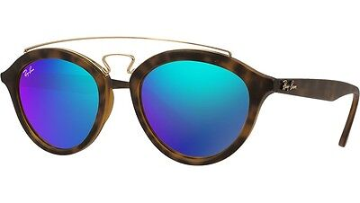 Ray Ban RB4257 6092/55 Gatsby II Matte Havana Light Green Mirror Blue Sunglasses