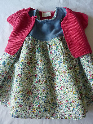 NEXT infant baby girl blue mix dress & pink cotton jacket outfit age 0-3 months