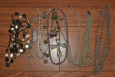 Lot Of 10 Pieces Of Jewelry Necklaces Pearl Various Colors And Styles