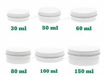 Empty Aluminium Cosmetic Pot Jar Tin Container WHITE Sample lined EPE insert