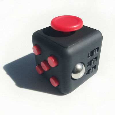 ZILA LARGE Red/Black FIDGET CUBE Toy for Stress and Anxiety, EDC, OCD, ADHD, ADD