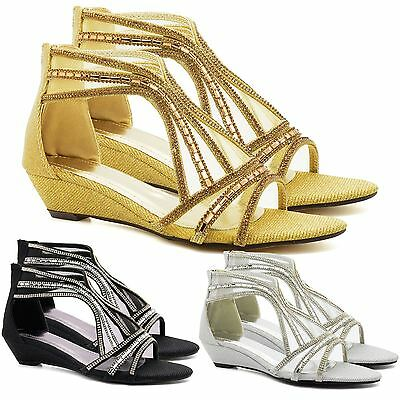 Womens Diamante Low Mid Heel Wedge Shoes Sandals Wedding Prom Evening Party