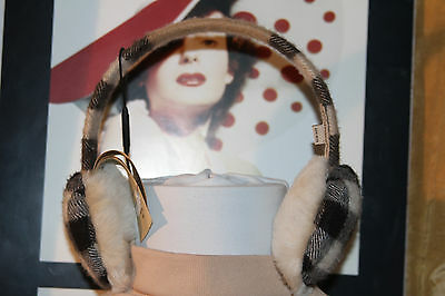 Burberry 100% Cashmere Camel Plaid Earmuffs    100% Authentic  Sold Out