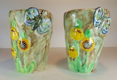 Lovely Pair Of Vintage Radford Butterfly Ware Small Flower Vases