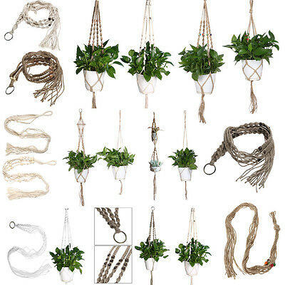 Plant Pot Hanger Macrame Jute For Indoor Outdoor Ceiling Holder Hanging Basket #