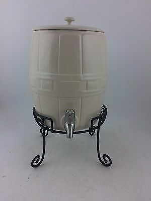 Longaberger Pottery Ivory Beverage Drink Dispenser Barrel w Wrought Iron Stand