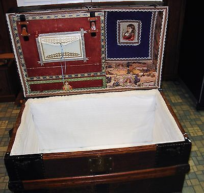 Antique Vintage trunk with 2 compartments redone