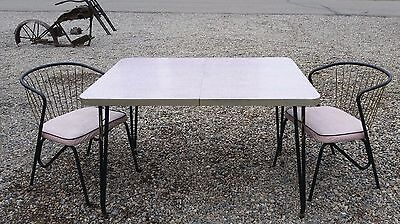 VINTAGE Kitchen Table with 2 Chairs RETRO Formica  PINK & GRAY   RARE FIND!!