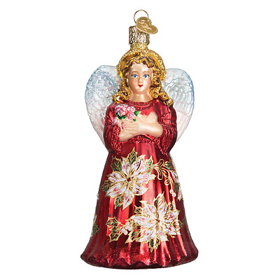 """""""Red Poinsettia Angel"""" (10176) Old World Christmas Glass Ornament w/OWC Box"""