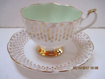 Queen Anne Bone China Numbered Footed Teacup & Saucer – Mint Condition