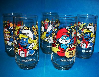 5 Vintage 1983 Smurfette Smurf Collector Glasses Tumblers Papa, Handy, Baker