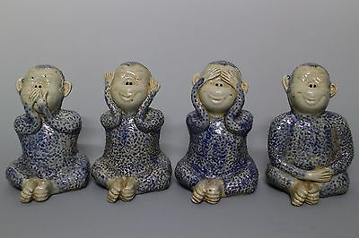 Beautiful Chinese Blue and White Porcelain Four Monkeys Statue
