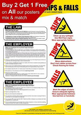 Health and Safety Slips Trips And Falls HSE Poster A4 A3 A2 A1
