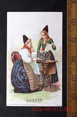 Antique Victorian Trade Card Singer Sewing Machine SWEDEN 2 Pretty Ladies c.1892