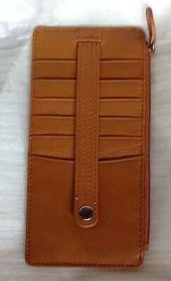 Creit Card Holder Case Men Women Securit Snap ID Slot Genuine Leather New Wide