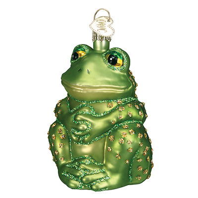 """Sitting Frog"" (12221) Old World Christmas Glass Ornament w/OWC Box"