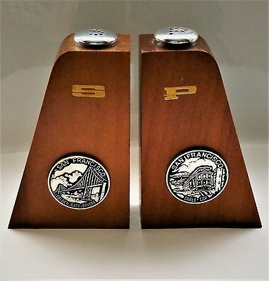 Vintage San Francisco Salt And Pepper Shakers Modern Style Wooden Made In Japan