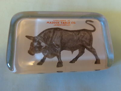 Maddox Table Co Paperweight Jamestown NY Early with Bull