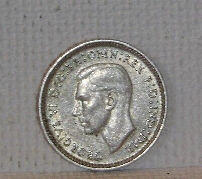 1942 D Three Pence  Km # 37  Silver Coin