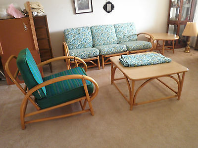 Mid-Century: 6 Pc.Set Ficks Reed Rattan Double Curved Arm