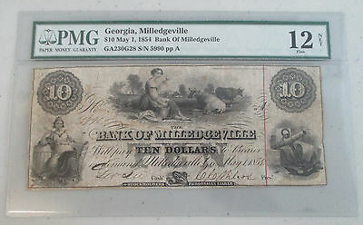 1854 Bank of Milledgeville, Georgia, $10 OBSOLETE Note PMG 12 FINE