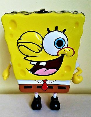 2005 Collectable Spongebob Squarepants Stand Up Metal Tin With Latch