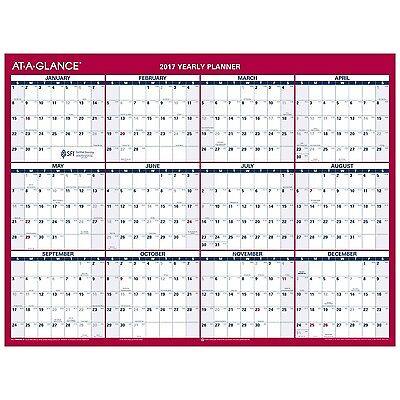AT-A-GLANCE Wall Calendar 2017 Vertical/Horizontal Erasable Yearly 2-Sided 12...