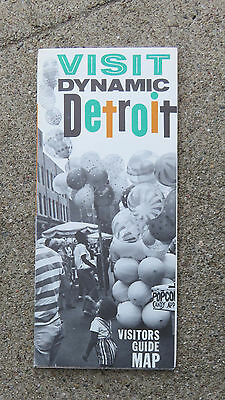 Original  c 1960s Visit Dynamic Detroit Visitors Guide Map