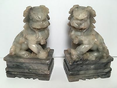 Chinese Carved Soap Stone Foo Dog Temple Lion Bookends Statue Home Office