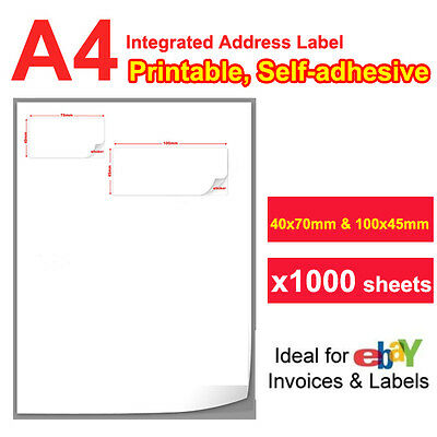 1000 x Integrated Address Label for eBay Manager Packing Slip Mailing Sticker A4