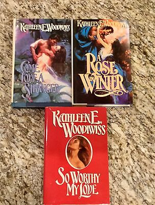 Lot Of 3 HARDBACK W/DUST JACKET Books By Kathleen E. Woodiwiss ~ ROMANCE NOVELS