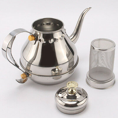 41 oz 1.2L STAINLESS STEEL TEA OR COFFEE POT, TEAPOT w/ REMOVABLE MESH FILTER