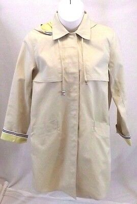 Dennis Basso Womens Sz L Coat Trench Raincoat Jacket Hooded Spring Beige Cotton