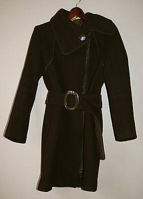 Soia Kyo Brown Wool Blend Belted Asymmetrical Zip Coat / Women's Size M