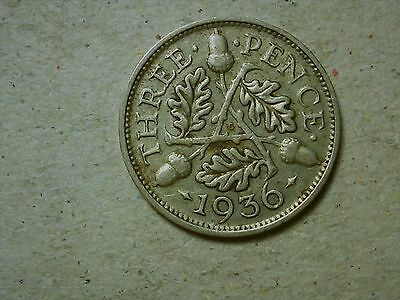 Great Britain 3 pence threepence 1936 George V silver