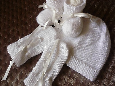 Baby Beanie, Booties & Mittens, Boy/girl, Extra Soft White, Handknitted