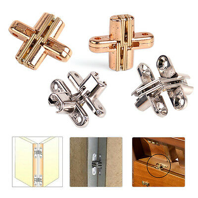 2pcs Hidden Stainless Steel Invisible Concealed Cross Hinge for Wooden Door Box