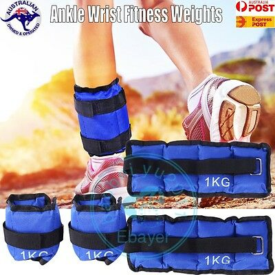 2x 1kg ANKLE WEIGHTS HOME GYM EQUIPMENT WRIST FITNESS YOGA TRAINING WEIGHTS 2kg