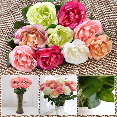 New 10 Head Rose Silk Flowers Real Touch for Wedding Home Decor Bouquet