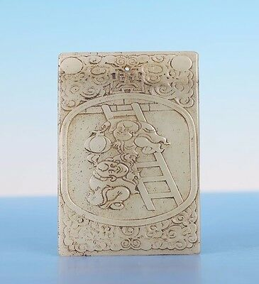 Nice Chinese Old Natural Hand Carving Figures Calligraphy Jade Pendant JA30