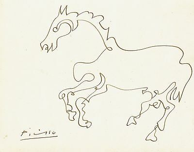 Picasso Pen & Ink Line Drawing of a Horse 1908
