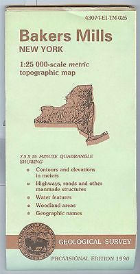 US Geological Survey topographic map metric BAKERS MILLS New York 1990 provision