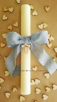 Baptism Candle. Christening Candle. Personalised with name/date  wooden cross .